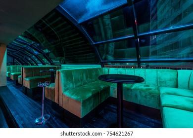Empty restaurant interior by night