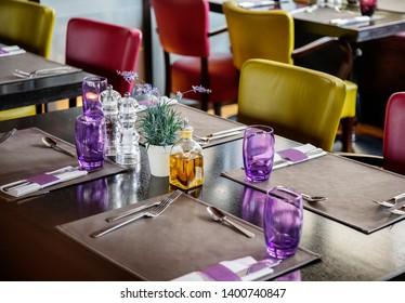 empty restaurant table in Mediterranean style