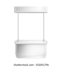 Empty retail stand. 3d Illustration isolated on white background. Graphic concept for your design