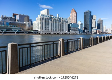 Empty Riverfront on Roosevelt Island in New York City with the Upper East Side Skyline