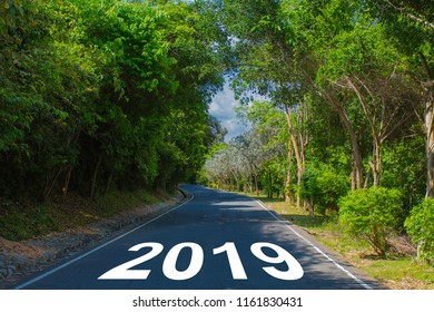 Empty road block ahead message on the highway lane New Year's Resolution 2019 goals. Target success concept.