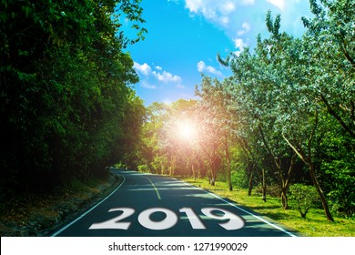 Empty road block ahead message on the highway lane New Year's Resolution.  Beautiful green road forest tree leaf word 2019 goals.    Target success concept.