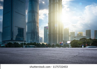 the  empty road with buildings