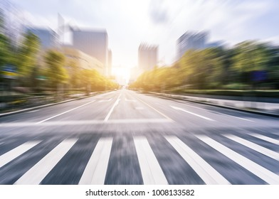 empty road with cityscape