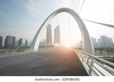 empty road with cityscape in modern city