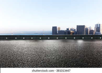 empty road with cityscape of San Francisco background