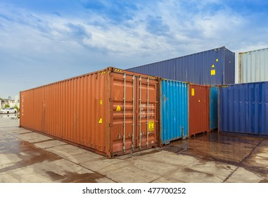 Empty road and containers in harbour industrial port with containers