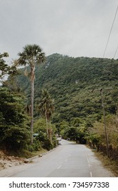 Empty road in Mindoro, Philippines. Island, jungle and mountains.