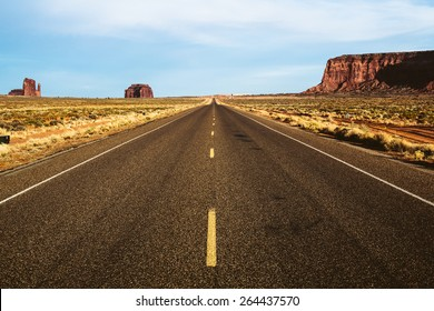 Empty Road in the Monument Valley