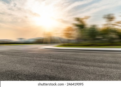 Empty Road With Motion Blur Background