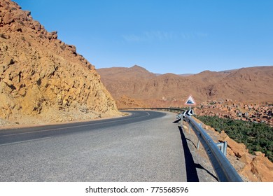 empty road with mountains in morocco