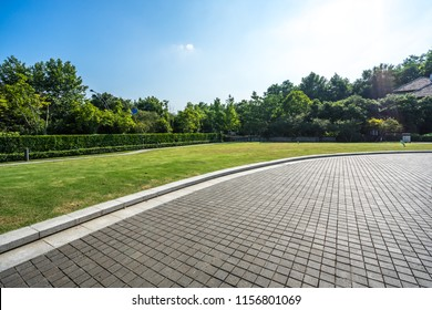 empty road in the park