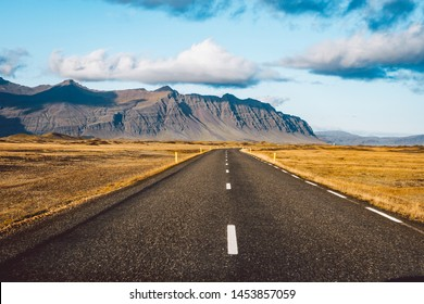 Empty road passing through amazing landscape in Iceland