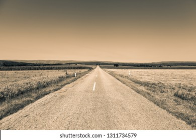 Empty road - sepia