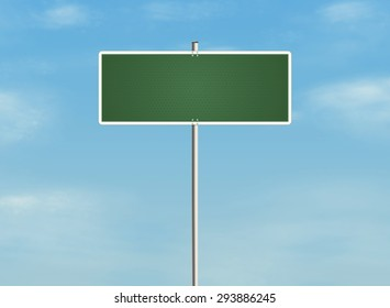 Empty road sign on the sky background. Place for any text. Raster illustration.