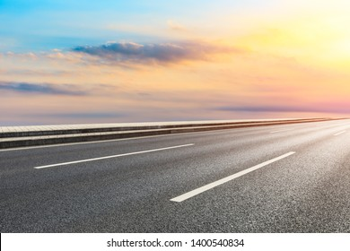 Empty road and sky nature landscape at sunrise