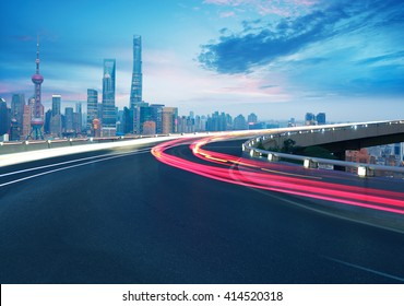 Empty road textured floor with Aerial photography bird-eye view at Shanghai bund Skyline of night scene