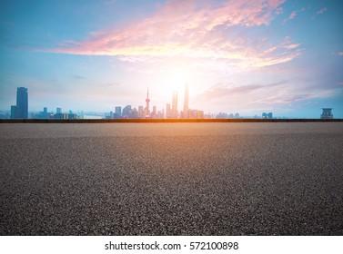 Empty road textured floor with Aerial photography bird-eye view at Shanghai bund Skyline of sunrise