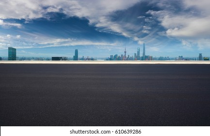 Empty road textured floor with Aerial photography bird-eye view at Shanghai bund Skyline of panorama