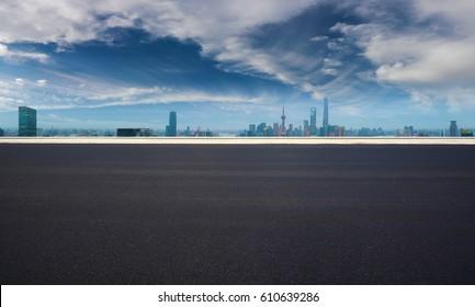 Empty road textured floor with Aerial photography bird-eye view at Shanghai bund Skyline of panorama