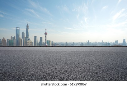 Empty road textured floor with Aerial photography bird-eye view at Shanghai bund Skyline