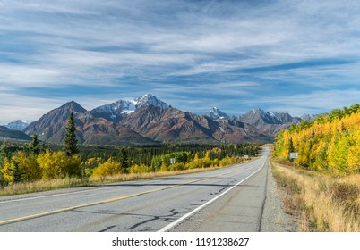 Empty road through Alaskan wildernes