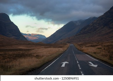 Empty road through the Highlands of Scotland