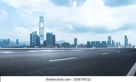 empty road travel through Hong Kong central,China.