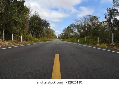Empty road Yucatan Mexico