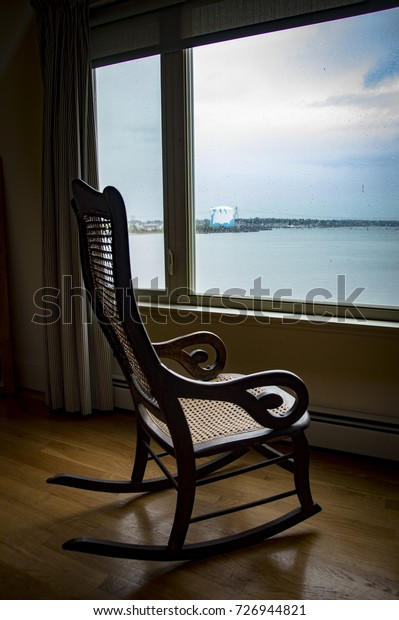 Amazing Empty Rocking Chair Looking View Bay Stock Photo Edit Now Caraccident5 Cool Chair Designs And Ideas Caraccident5Info
