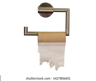 empty roll of toilet paper in the bathroom. isolated on white
