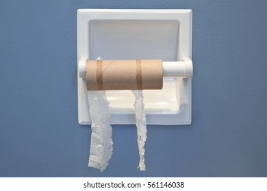 The empty roll of toilet paper still on the dispenser, shreds of tissue hanging.
