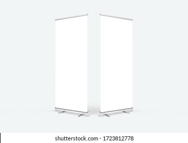 Empty rollup banners stand. Blank template mockups. Exhibition stand roll-up banners, screen for you design. Vertical white roll up for preview.