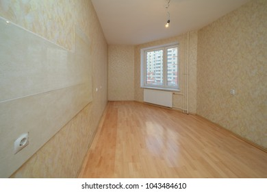 empty room after repair light clean interior with wallpaper