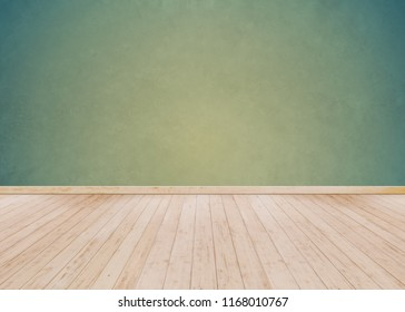 Empty Room background and Green cement wall with Wooden floor