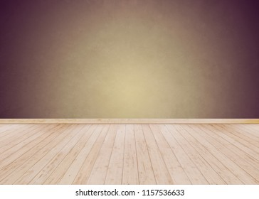 Empty Room background and Yellow and Purple cement wall with Wooden floor