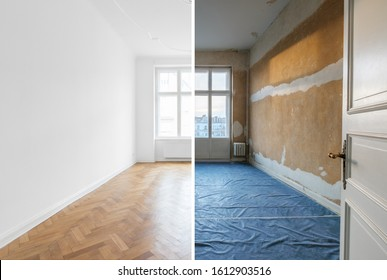 empty room before and after renovation - home refurnishment