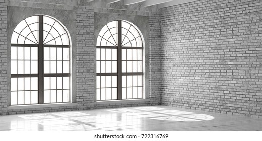 Empty room with big window in loft style. Wooden floor and brick wall in a modern interior. 3D render.