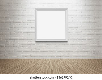 Empty room with blank picture frame at the brick wall with copy space and clipping path