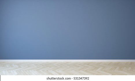 Empty room with blue painted wall and wooden floor, very useful to retouch