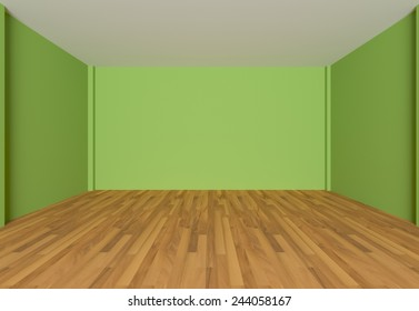 Empty room color wall and decorated with wooden floors.