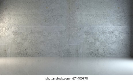 Empty room with concrete walls, white glossy floor with light and soft skylight from window.Background with copy-space.