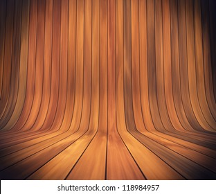 An empty room with continuous wood from wall to floor