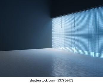 Empty room dark with Jalousie. 3D render
