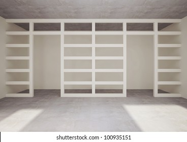 empty room with decorative construction - 3d illustration