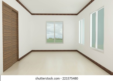 Empty room with glass in house .
