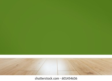 empty room with green wall
