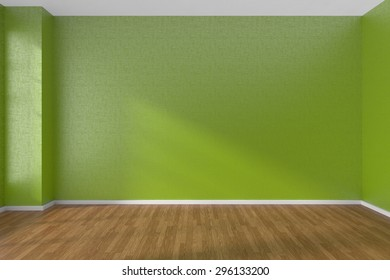Empty room with green walls and wooden parquet floor under sunlight through window, 3D illustration