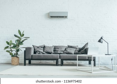 empty room with grey sofa, ficus, laptop on table and air conditioner on white wall