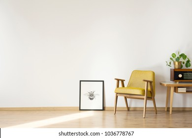 Empty room interior with armchair and other vintage items
